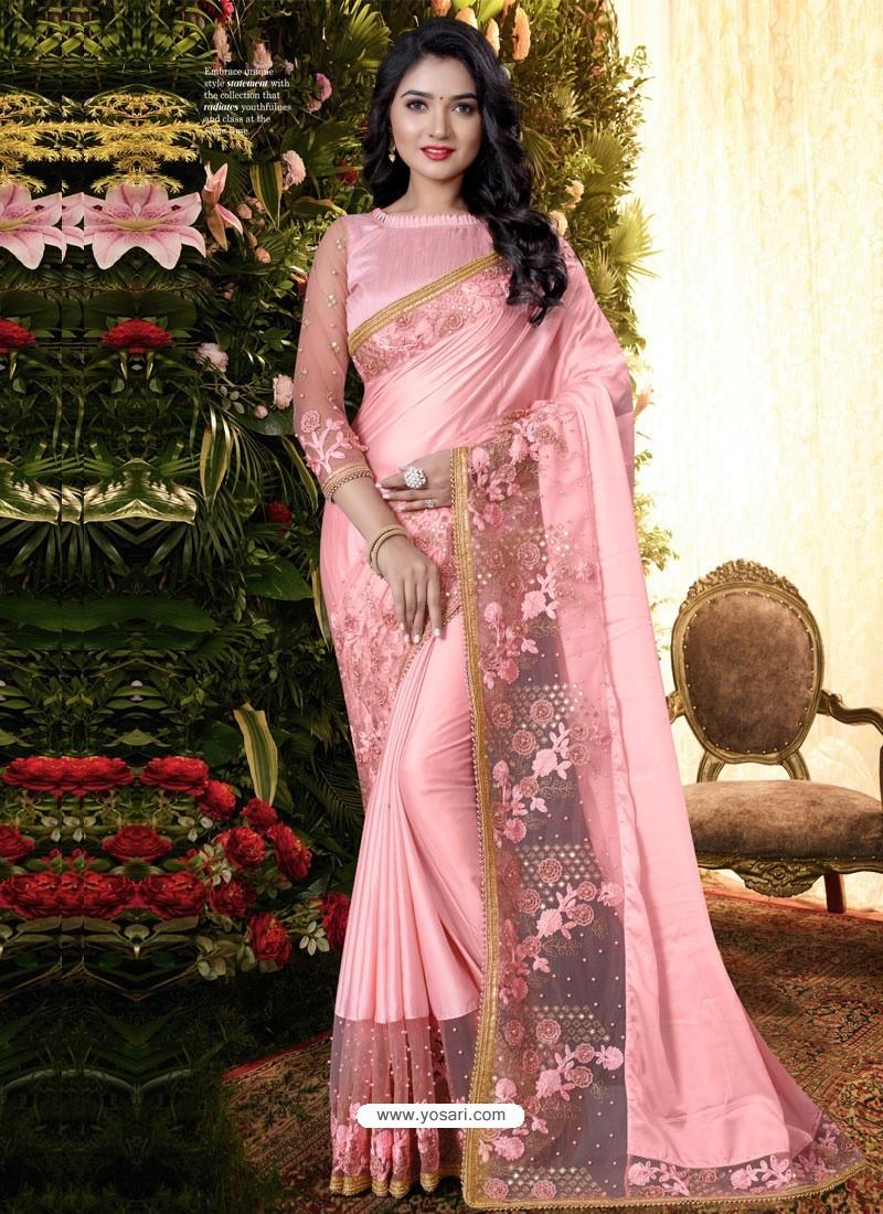 Pink Stylish Party Wear Embroidered Designer Wedding Sari