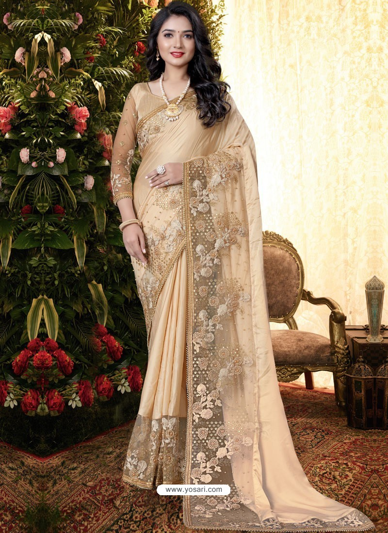 Gold Stylish Party Wear Embroidered Designer Wedding Sari