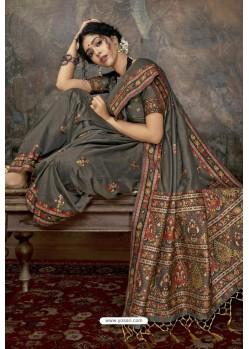 Grey Party Wear Designer Printed Banarasi Silk Sari
