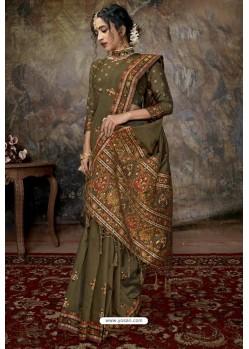 Olive Green Party Wear Designer Printed Banarasi Silk Sari