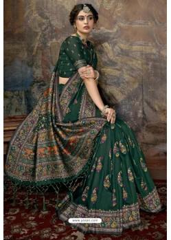 Dark Green Party Wear Designer Printed Banarasi Silk Sari