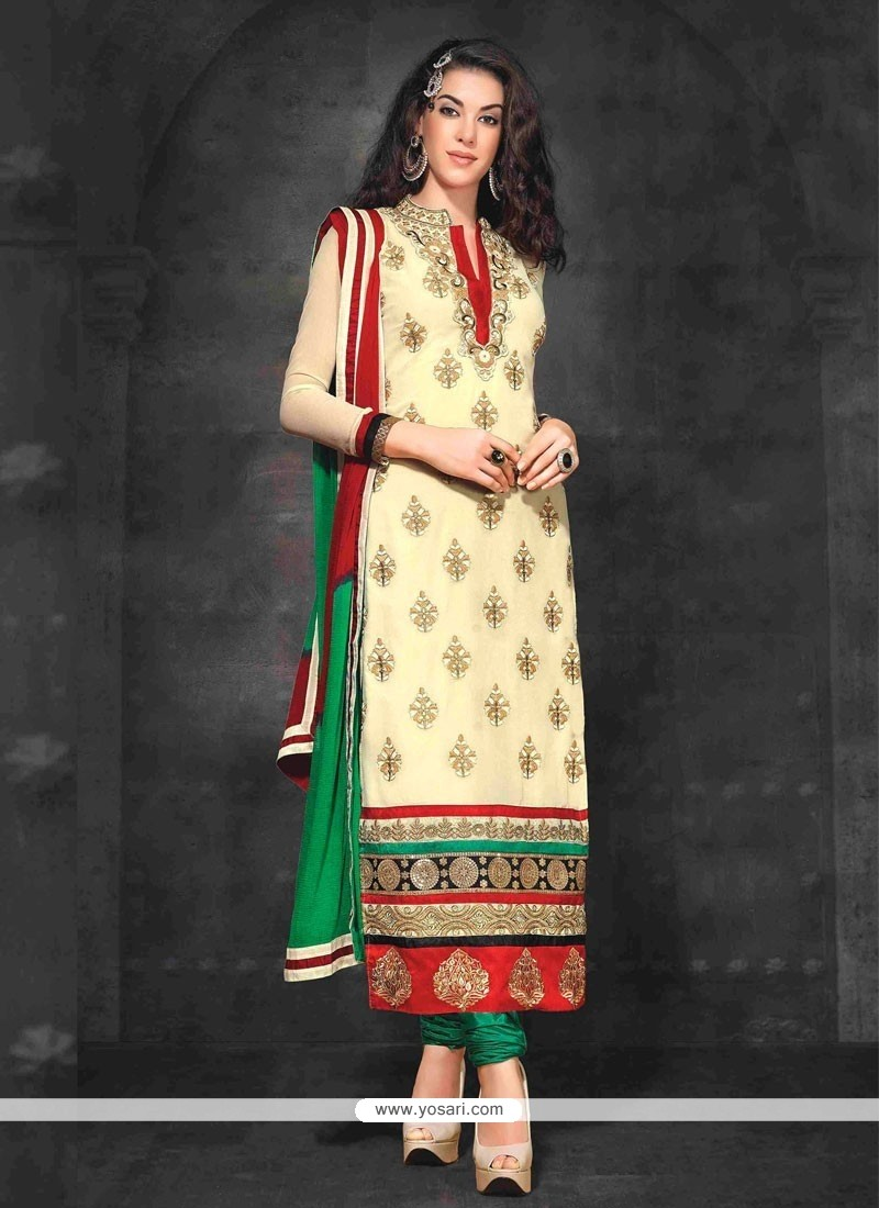 Charismatic Cream Georgette Resham Churidar Suit