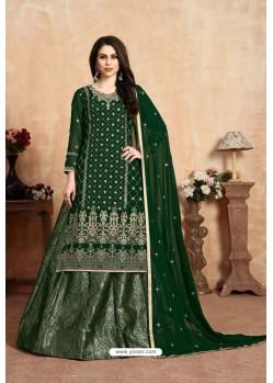 Dark Green Designer Party Wear Georgette Wedding Lehenga Suit