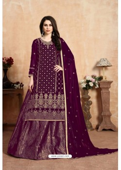 Deep Wine Designer Party Wear Georgette Wedding Lehenga Suit