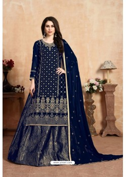 Navy Blue Designer Party Wear Georgette Wedding Lehenga Suit