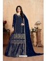 Navy Blue Designer Party Wear Georgette Wedding Lehenga Suit