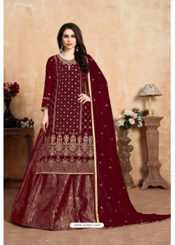 Maroon Designer Party Wear Georgette Wedding Lehenga Suit