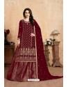 Maroon Designer Party Wear Georgette Wedding Lehenga Suit