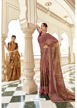 Old Rose Casual Wear Designer Brasso Silk Sari