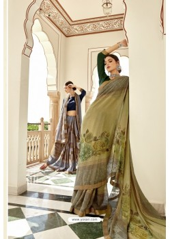 Green Casual Wear Designer Brasso Silk Sari