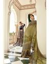 Green Casual Wear Designer Brasso Silk Sari