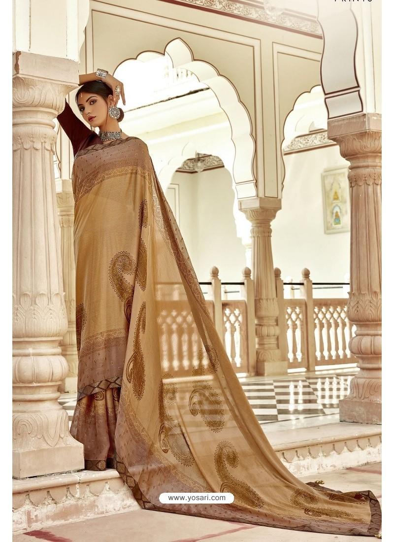 Beige Casual Wear Designer Brasso Silk Sari