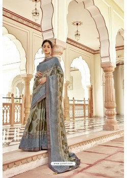 Multi Colour Casual Wear Designer Brasso Silk Sari