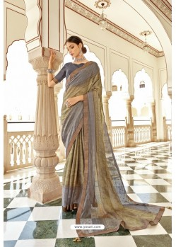 Taupe Casual Wear Designer Brasso Silk Sari