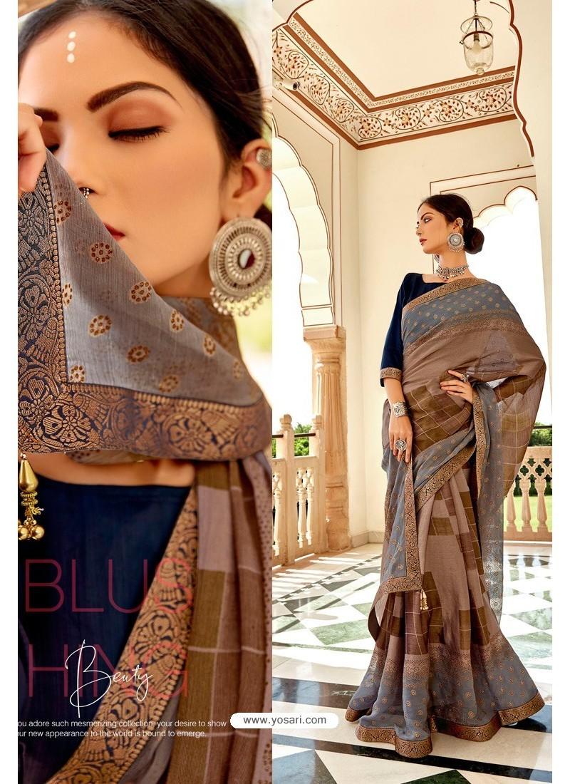 Multi Colour Casual Wear Designer Brasso Silk Sari
