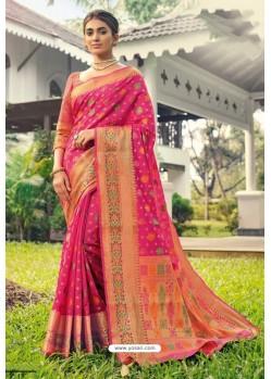 Rani Designer Festival Wear Heavy Banarasi Silk Sari