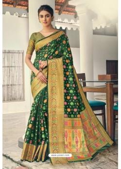 Dark Green Designer Festival Wear Heavy Banarasi Silk Sari
