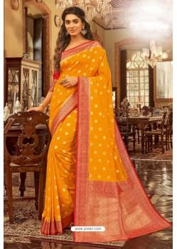 Yellow Designer Festival Wear Chanderi Cotton Sari