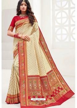 Cream Latest Party Wear Designer Upada Silk Sari