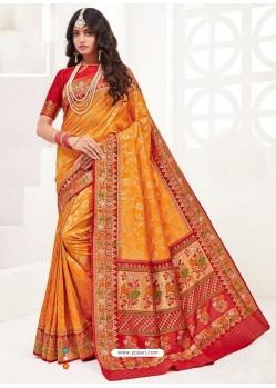 Orange Latest Party Wear Designer Upada Silk Sari