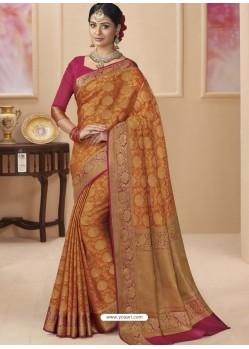 Orange Designer Classic Wear Silk Tissue Crush Sari