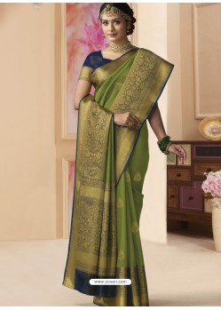 Green Designer Classic Wear Silk Tissue Crush Sari