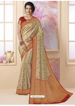 Beige Designer Classic Wear Silk Tissue Crush Sari