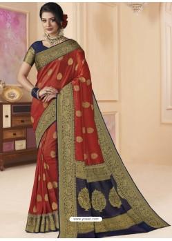 Red Designer Classic Wear Silk Tissue Crush Sari