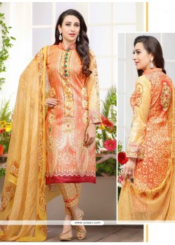 Karishma Kapoor Cotton Satin Print Work Designer Suit