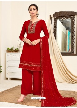 Maroon Designer Australian Georgette Party Wear Palazzo Salwar Suit
