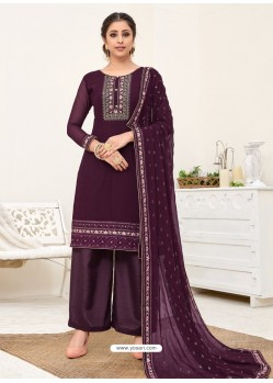Purple Designer Australian Georgette Party Wear Palazzo Salwar Suit