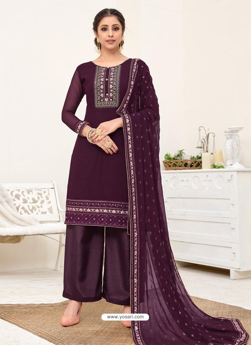 Purple Designer Australian Georgette Party Wear Palazzo Salwar Suit