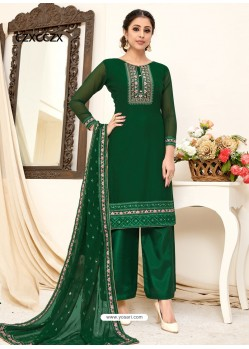 Dark Green Designer Australian Georgette Party Wear Palazzo Salwar Suit