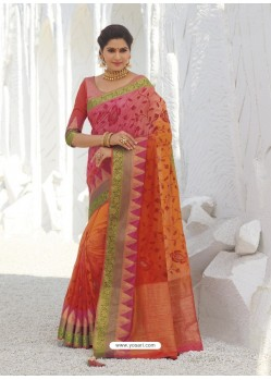 Multi Colour Latest Designer Party Wear Raw Silk Sari