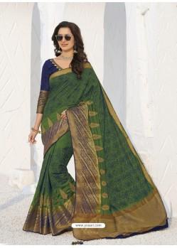 Dark Green Latest Designer Party Wear Raw Silk Sari