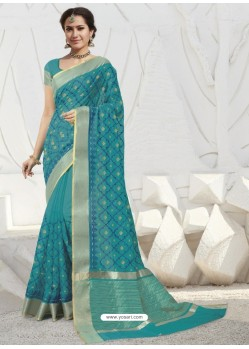Turquoise Latest Designer Party Wear Raw Silk Sari
