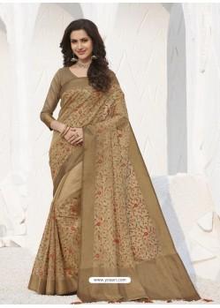 Beige Latest Designer Party Wear Raw Silk Sari