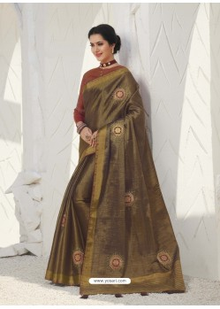 Gold Latest Designer Party Wear Raw Silk Sari