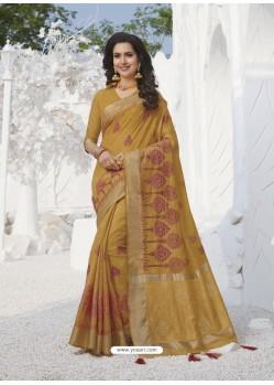 Yellow Latest Designer Party Wear Raw Silk Sari