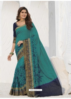 Blue Latest Designer Party Wear Raw Silk Sari