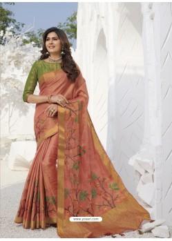 Peach Latest Designer Party Wear Raw Silk Sari