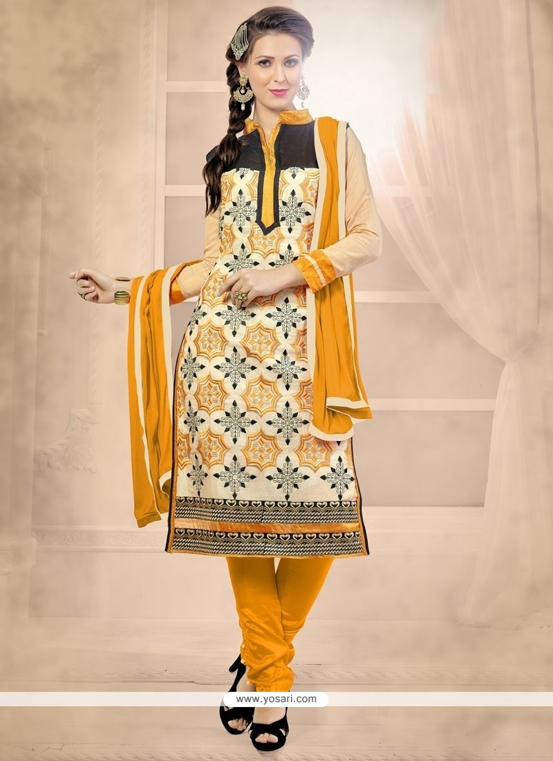 Imposing Lace Work Churidar Designer Suit