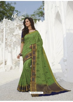 Green Latest Designer Party Wear Raw Silk Sari