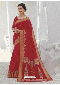 Red Latest Designer Party Wear Raw Silk Sari