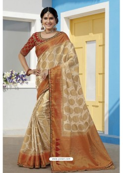 Off White Latest Designer Traditional Wear Raw Silk Sari