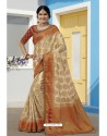 Off White Latest Designer Traditional Wear Raw Silk Sari