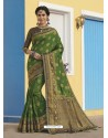 Forest Green Latest Designer Traditional Wear Raw Silk Sari