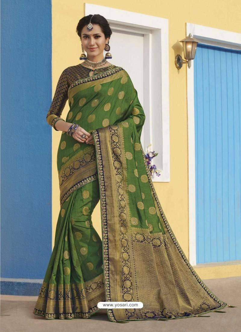 Forest Green Latest Designer Traditional Wear Raw Silk Sari