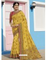 Yellow Latest Designer Traditional Wear Raw Silk Sari