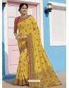 Yellow Latest Designer Traditional Wear Raw Silk Sari
